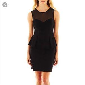 Bisou Bisou Illusion Peplum dress Sheer black EUC